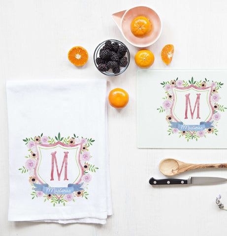 Miss Design Berry Mug Gift Set Monogram Crest Tea Towel and Cutting Board Set