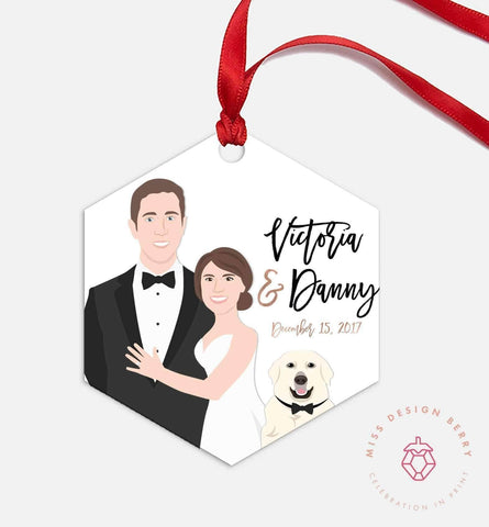 Miss Design Berry Ornament Couple Portrait Ornament