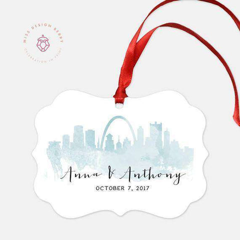 Miss Design Berry Ornament Custom Watercolor Skyline Ornament