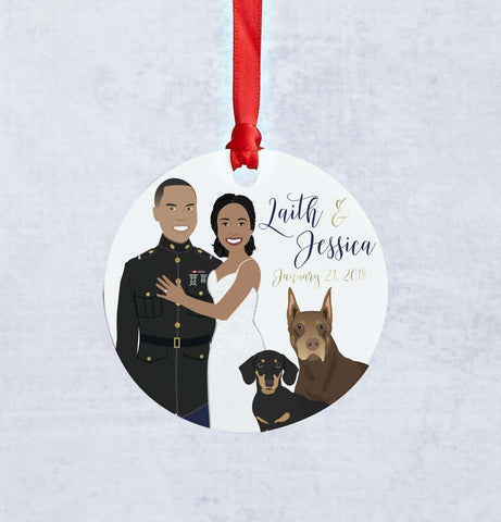 Miss Design Berry Ornament Newlywed Couple Portrait Ornament