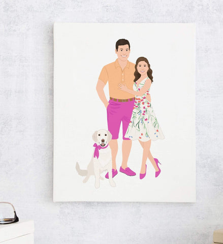 Miss Design Berry Personalized Gift Couple Portrait Illustration Print - First Anniversary Gift