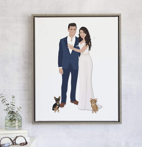 Couple Portrait Illustration Print for First Anniversary Gift or Wedding Gift Miss Design Berry