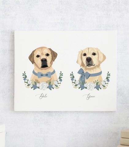 Miss Design Berry Personalized Gift Custom Pet Portrait Artwork - Two Pets