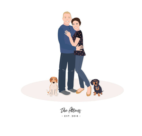 Miss Design Berry Personalized Gift Engagement Gift for Couple - Couple Portrait Artwork
