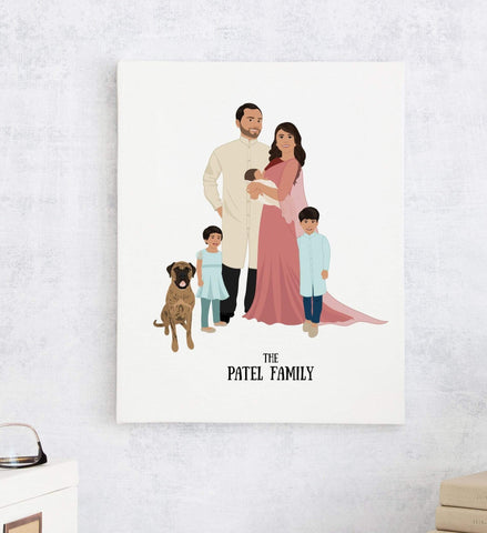 Miss Design Berry Personalized Gift Family Portrait Illustration - Personalized Gift