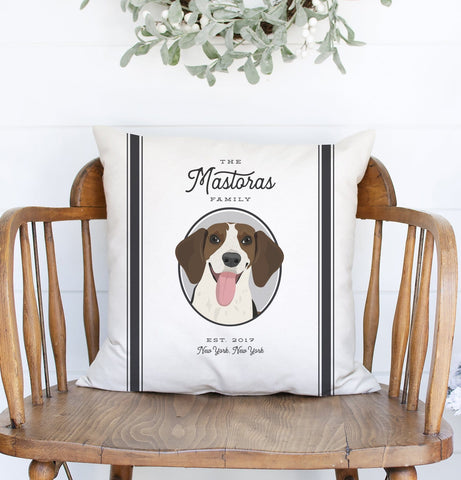 Miss Design Berry Personalized Gift Farmhouse Pillow with Pet Portrait and Grain Sack Stripes