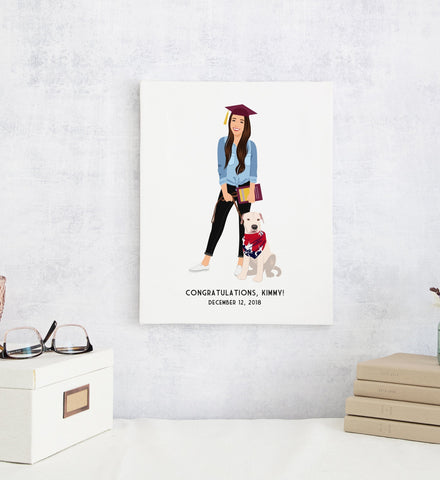 Miss Design Berry Personalized Gift Graduation Portrait Illustration