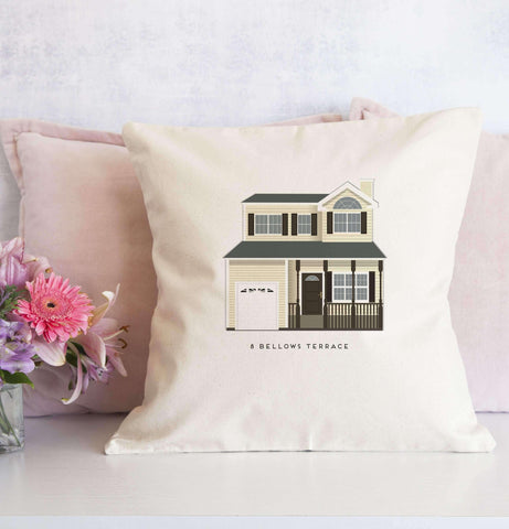 "Miss Design Berry Personalized Gift House Portrait Pillow Sham - 18"" Canvas"