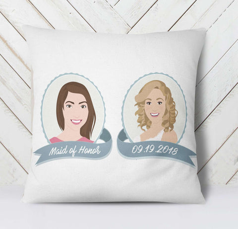 Miss Design Berry Personalized Gift Maid of Honor Gift from Bride - Personalized Portrait Pillow