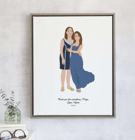 Miss Design Berry Personalized Gift Mother Daughter Portrait Gift Print