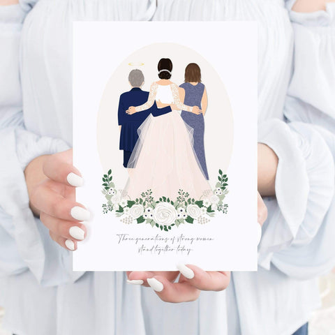 Mother of the Bride Gifts - Back Facing Mother Daughter Grandmother Wedding Portrait Miss Design Berry