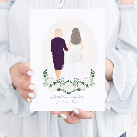 Mother of the Bride Gifts - Back Facing Mother Daughter Wedding Portrait Miss Design Berry