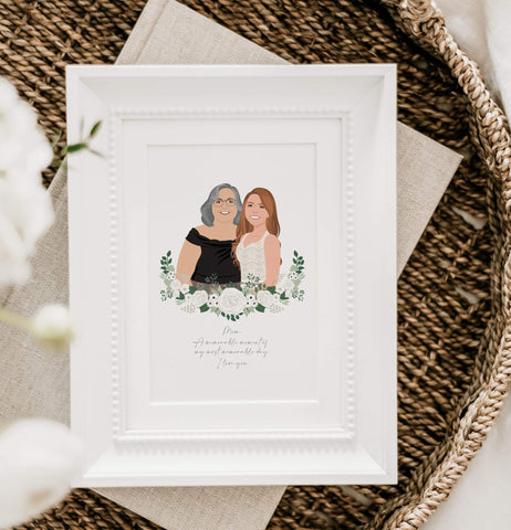 Mother of the Bride gift with custom illustrated portrait