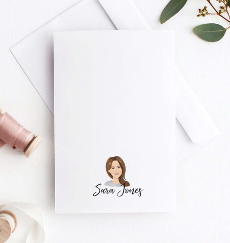 miss design berry personalized gift personalized stationery portrait notecards - Personalized Stationery Cards
