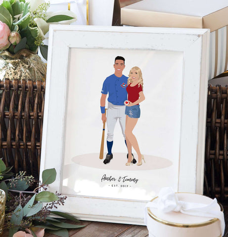 Miss Design Berry Personalized Gift Sports Gift for Couple - Personalized Couple Portrait Gift