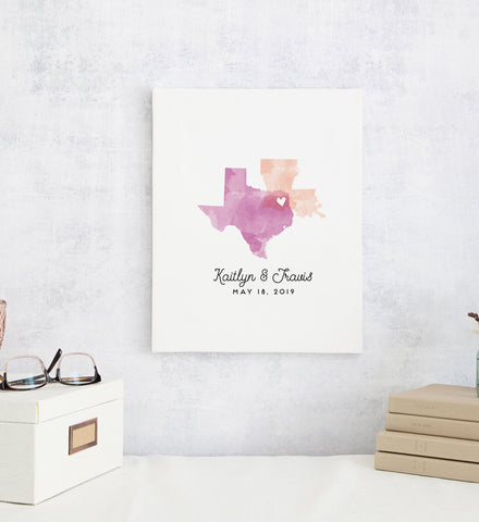 Miss Design Berry Personalized Gift Watercolor States Artwork