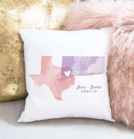 Miss Design Berry Personalized Gift Watercolor States Pillow