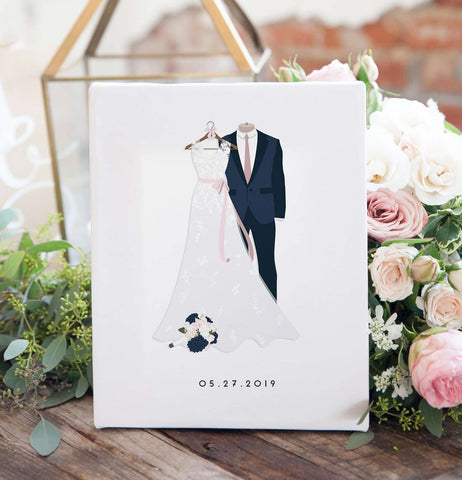 Miss Design Berry Personalized Gift Wedding Dress + Suit Illustration Print - First Anniversary Gift