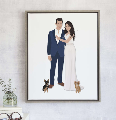 Miss Design Berry Personalized Gift Wedding Gift for Couple - Custom Wedding Portrait Artwork