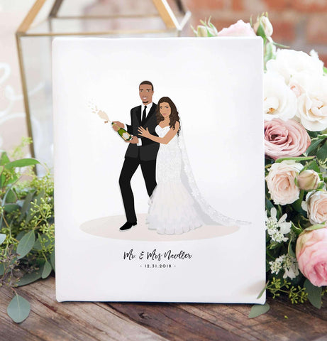 Wedding Gift For Couple Custom Wedding Portrait Artwork