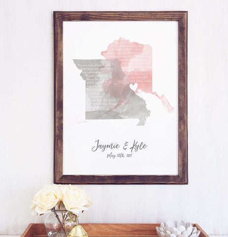 Wedding Vow Art Watercolor States