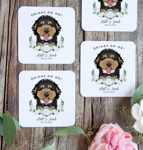 Miss Design Berry Pet Portrait Cocktail Coasters