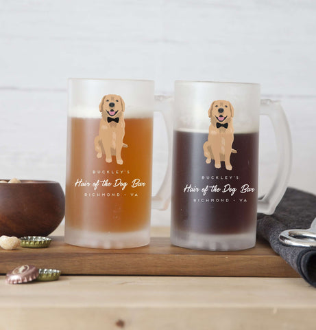 Miss Design Berry Pet Portrait Pint Glasses - Custom Beer Mugs for Bar - Clear or Frosted