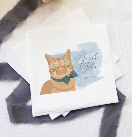 Miss Design Berry Pet Portrait Wedding Napkins - Watercolor Style
