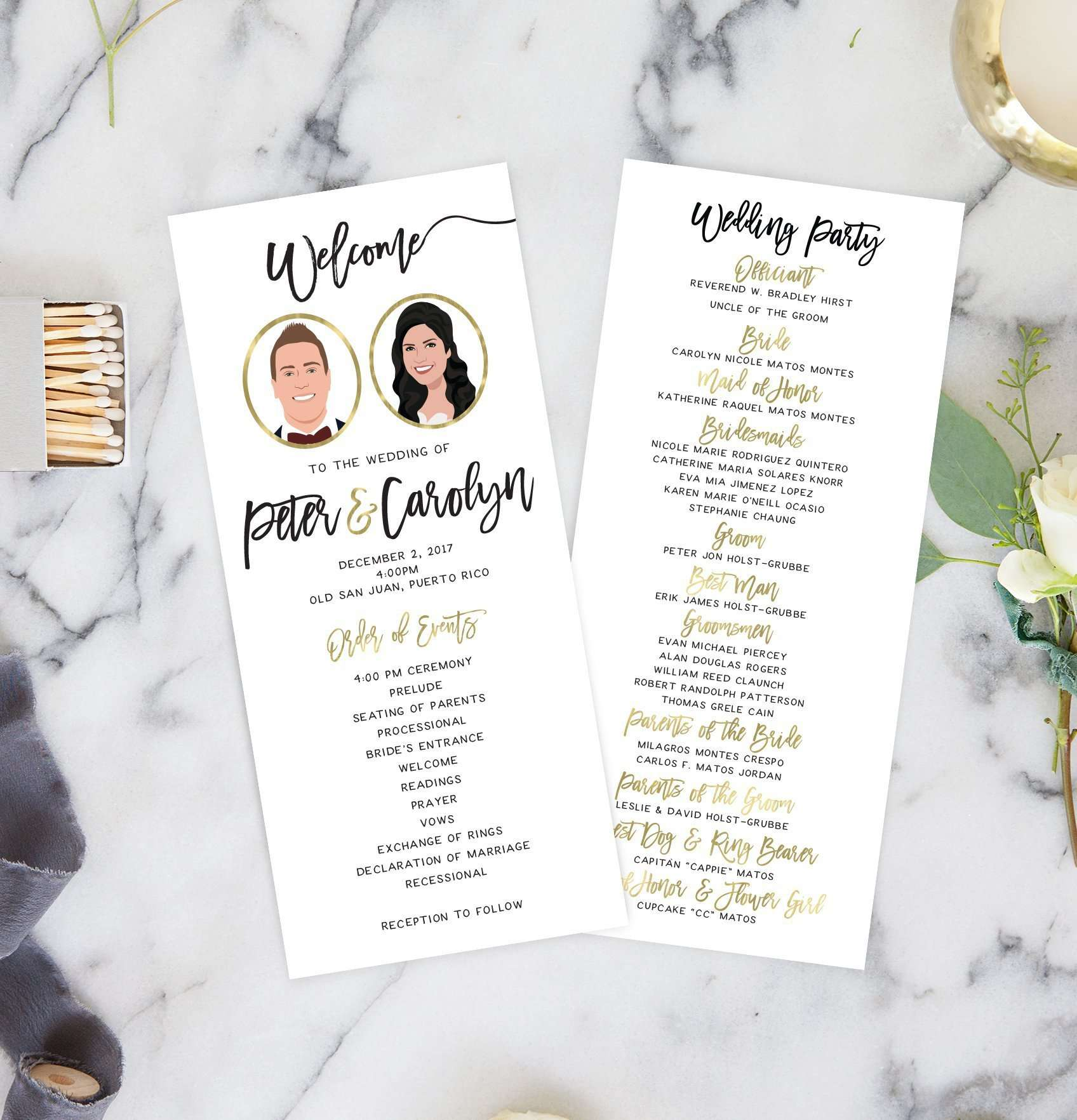 Wedding Ceremony Programs With Portraits