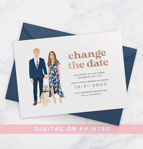 Miss Design Berry Save the Dates Change the Date Card with Couple Portrait