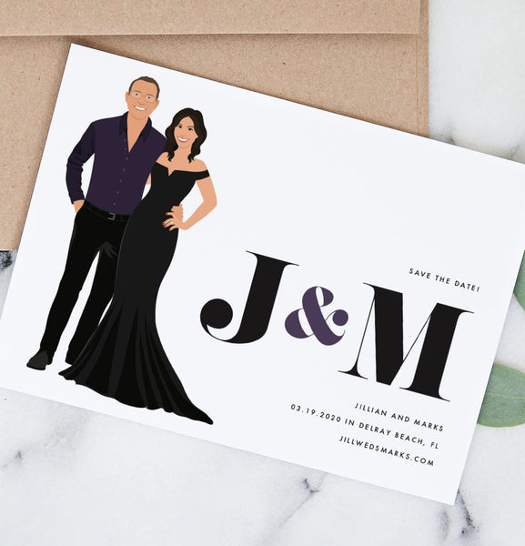 Modern Wedding Save the Date with Couple Portrait - The June