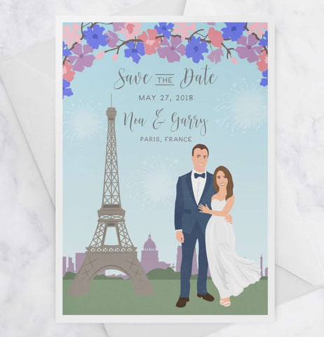 Miss Design Berry Save the Dates Portrait Save the Dates with Custom City
