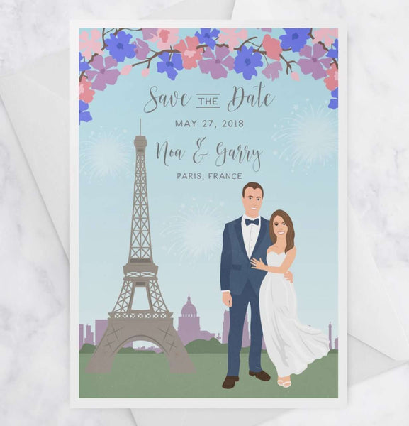 Portrait Save the Dates with Custom City