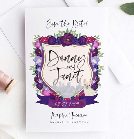 Miss Design Berry Save the Dates Watercolor Crest Save the Dates
