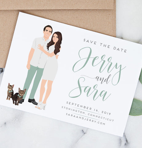 Miss Design Berry Save the Dates Wedding Save the Date with Casual Couple Portrait