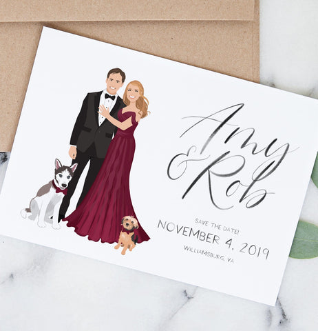 Miss Design Berry Save the Dates Wedding Save the Date with Couple Portrait - The Penny