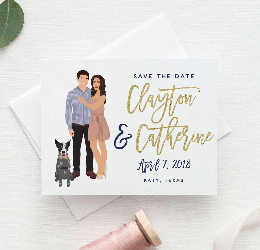 Wedding Save The Date With Couple Portrait