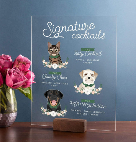 Miss Design Berry Sign Acrylic Signature Cocktail Wedding Sign with Three Pet Portraits