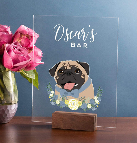 Miss Design Berry Sign Acrylic Wedding Bar Sign with Pet Portrait