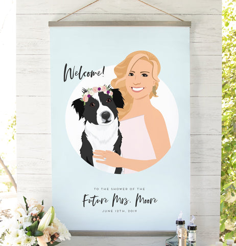Miss Design Berry Sign Bridal Shower Welcome Sign with Bride-to-Be Portrait
