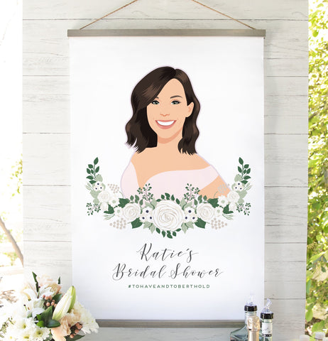 Miss Design Berry Sign Bridal Shower Welcome Sign with Floral Bride-to-Be Portrait