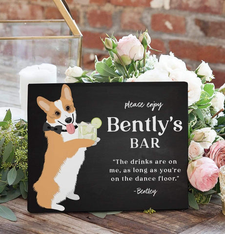 Chalkboard Bar Sign For Wedding with Pet Portrait Miss Design Berry