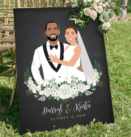 Miss Design Berry Sign Chalkboard Couple Portrait Wedding Welcome Sign