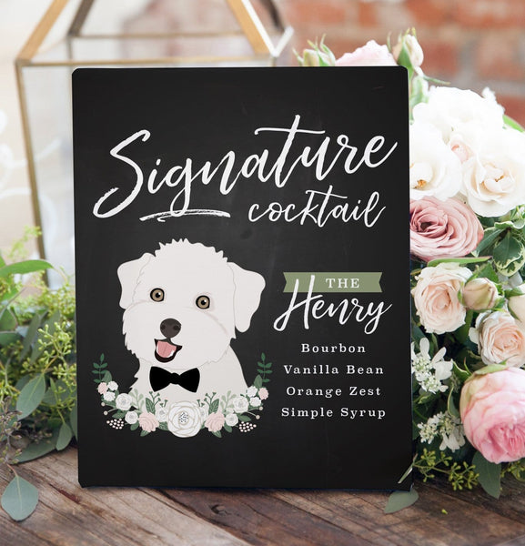 Chalkboard Signature Cocktail Sign For Wedding with Pet Portrait