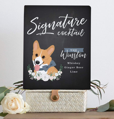 Chalkboard Signature Cocktail Sign For Wedding with Pet Portrait Miss Design Berry