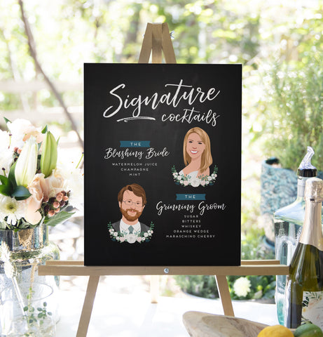 Miss Design Berry Sign Chalkboard Signature Cocktail Sign with Bride and Groom Portraits