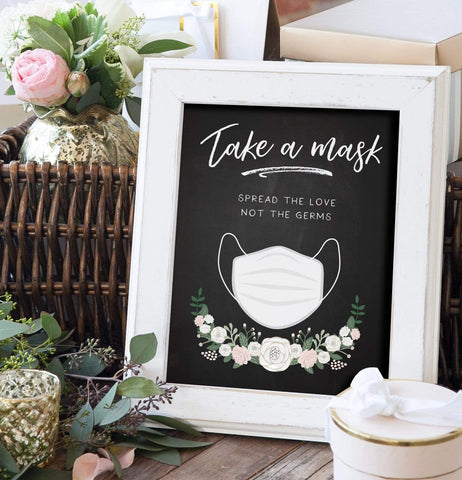 Chalkboard Take a Mask Sign For COVID Wedding Miss Design Berry