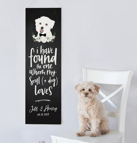 Miss Design Berry Sign Chalkboard Wedding Banner with Dog Portrait