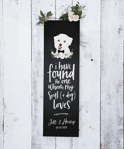 chalkboard wedding banner with dog portrait usd