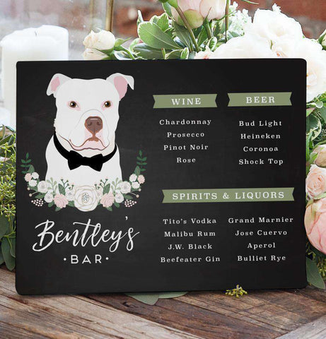 Miss Design Berry Sign Chalkboard Wedding Bar Menu Sign with Pet Portrait